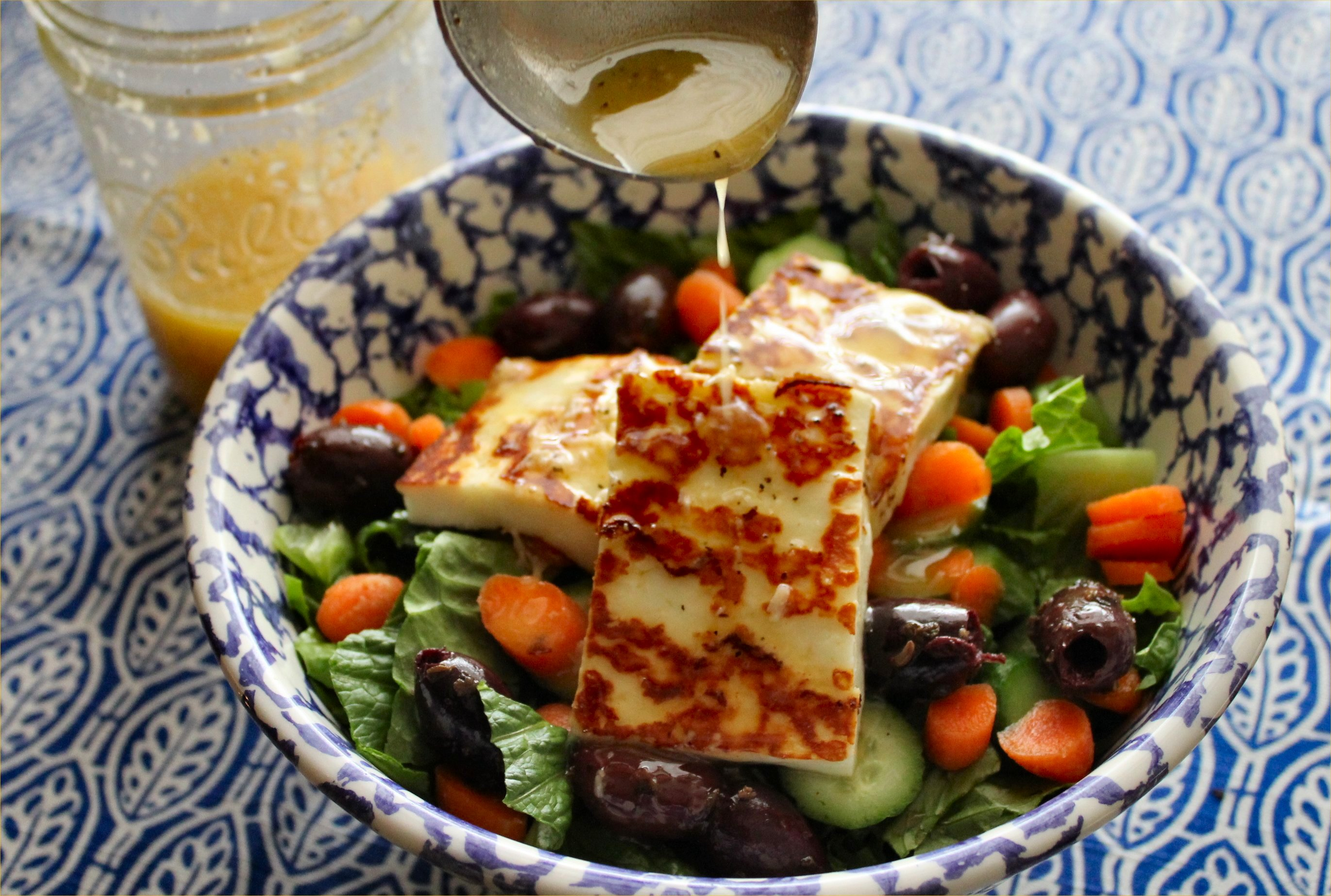 Aunt Trish's salad dressing over a green salad & grilled haloumi ...