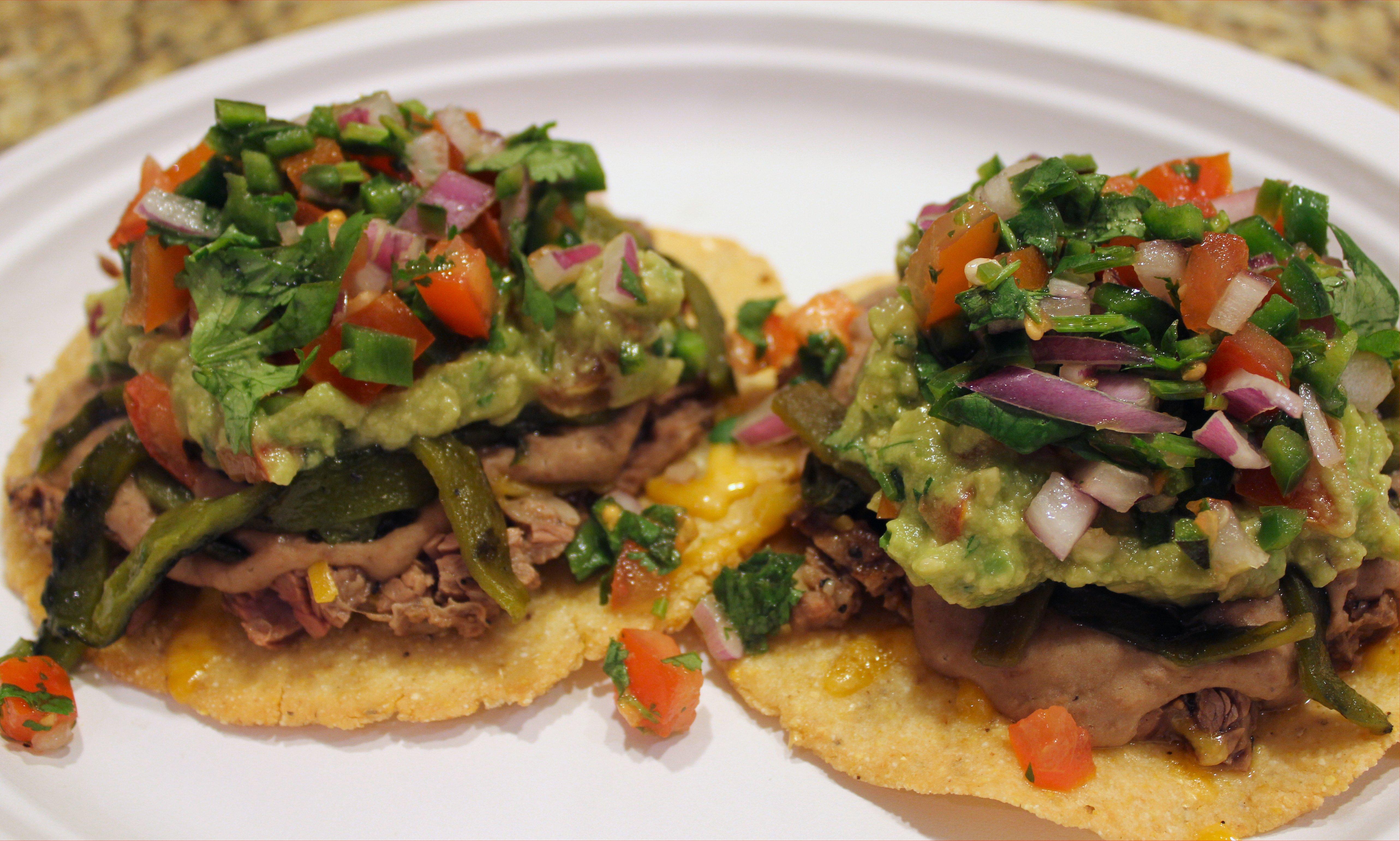 Fajita tostadas for Mexican food