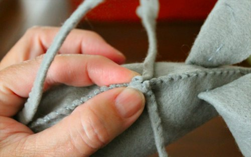 Felt Mouse Tutorial - Arms - Attaching to Body at the Spine