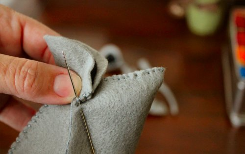 Felt Mouse Tutorial - Attaching the First Ear