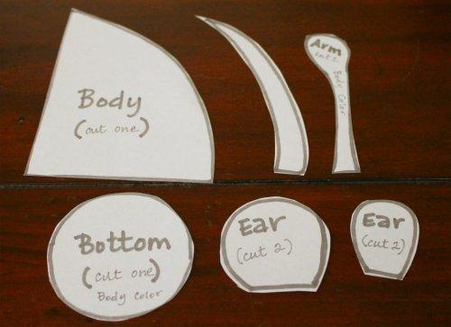 Felt Mouse Tutorial - Cut Out Pattern Pieces