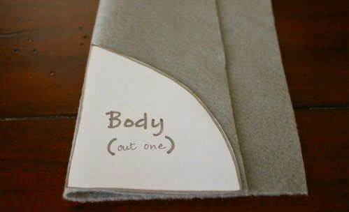 Felt Mouse Tutorial - Place Body Pattern on Fold