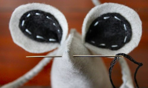 Felt Mouse Tutorial - Sewing Whiskers Onto Snout