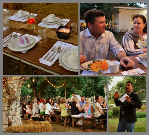 Clockwise - rustic place settings, rancher Jason Peeler & guest, host Danny Boome of the Food Network, and our lovely outdoor dining tables