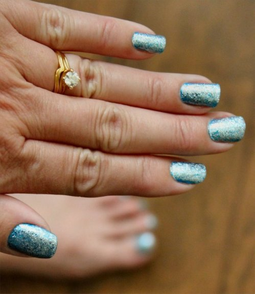 The Megan - Teal Sparkle Nails