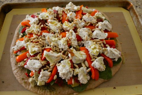 Veggie Pizza - seasoned ricotta, pine nuts & olive oil