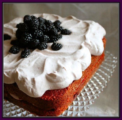 Blackberry Cake & Vintage Square Cakestand - Inside NanaBread's Head
