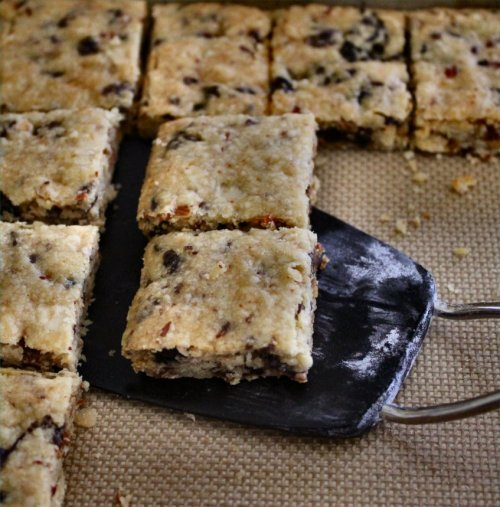 Cherry Almond Shortbreads - Cut into Squares - Inside NanaBread's Head