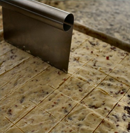Cherry Almond Shortbreads - Cutting into Squares - Inside NanaBread's Head