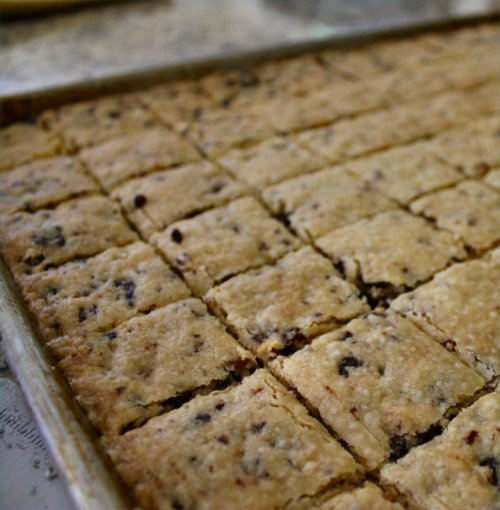 Cherry Almond Shortbreads - Out of the Oven - Inside NanaBread's Head