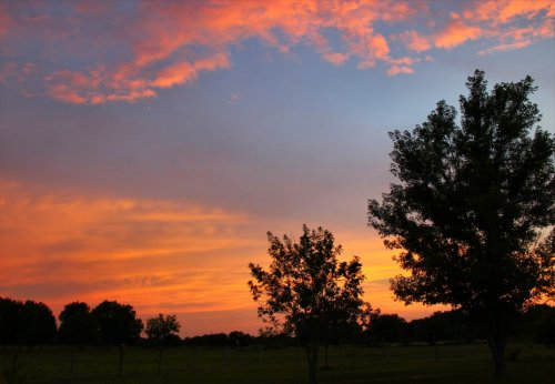 Typical sunset over Mom's place in the country.