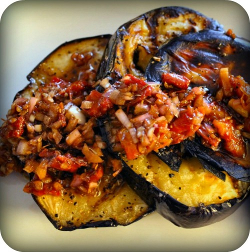 Grilled Eggplant with Sun-Dried Tomato Topping