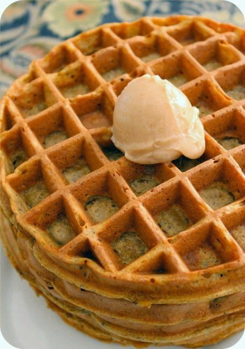 Pumpkin Hazelnut Waffles - Waffles with Cinnamon Honey Butter