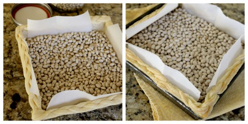 Before (L) and after (R) - the beans keep the dough in place.