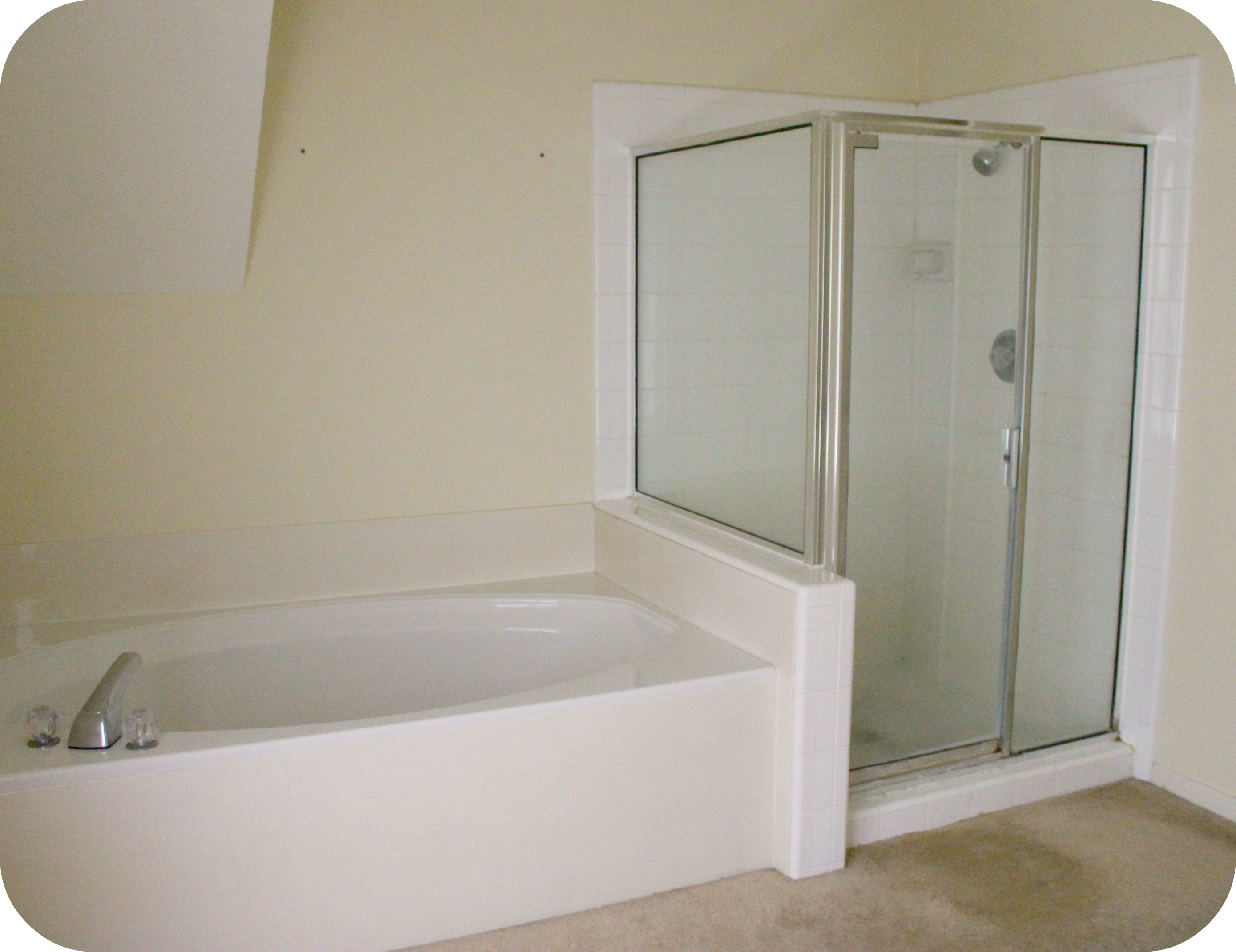 The master bath remodel project inside nanabread 39 s head for Bathroom ideas with tub and shower
