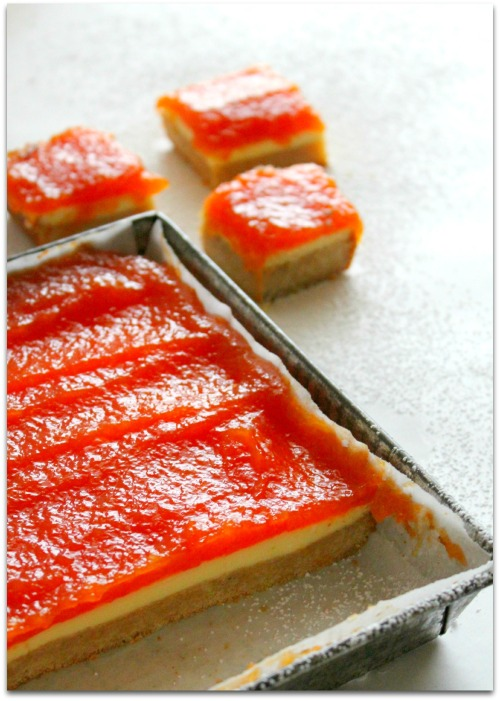Papaya Cheesecake Bars - Cut Bars & Pan