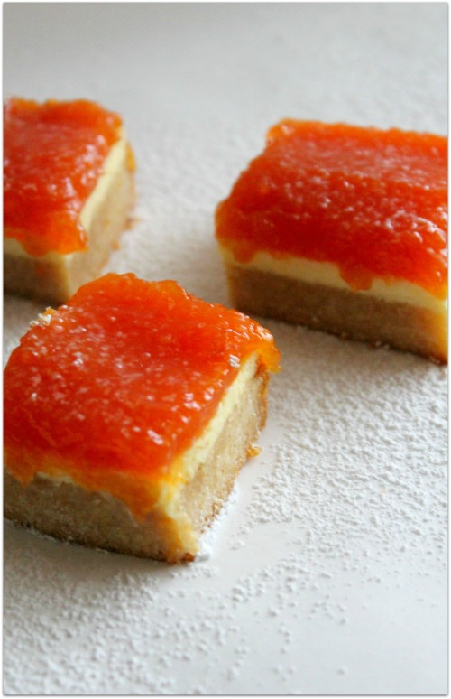 Papaya Cheesecake Bars - Cut