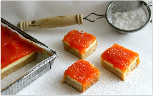 Papaya Cheesecake Bars - Horizontal