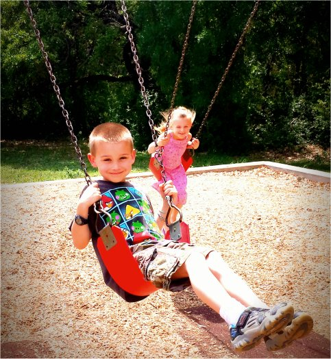 Jonah & Lilly on the Swings