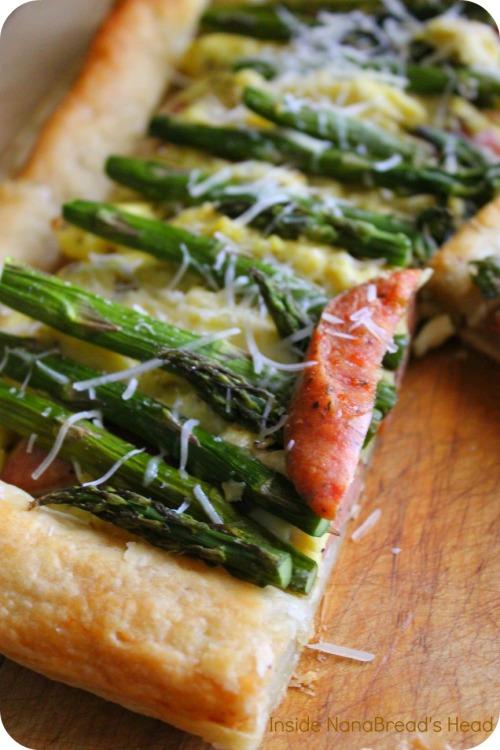 Spring Sausage Egg & Asparagus Tart - Cut