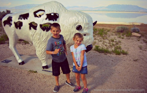 Salt Lake Park - Jonah & Lilly & the bison statue