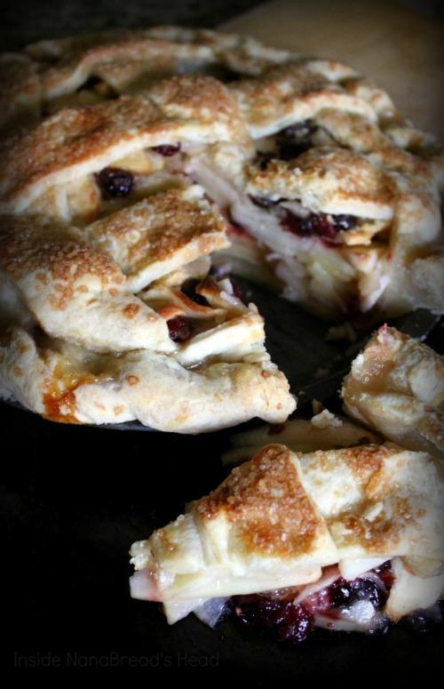 Apple Pear Cranberry Pie - Cut Pie - Inside NanaBread's Head