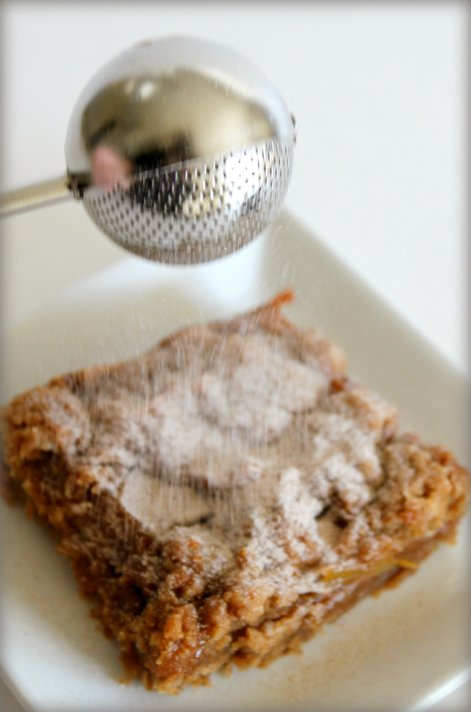 Caramel Pear Crumb Bars - OXO Sifter - Cinnamon Powdered Sugar
